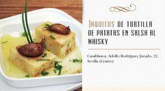 Taquitos de tortilla de patatas en salsa al whisky - Receta - Con Cuchillo y Tenedor