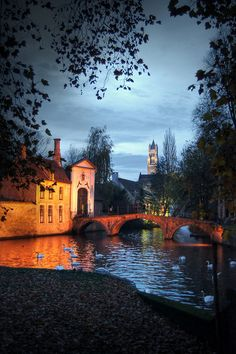 Night in Bruges, Belgium. Bruges is a fairy tale city and the people are really lovely.