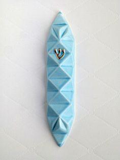 Origami Mezuzah - Blue
