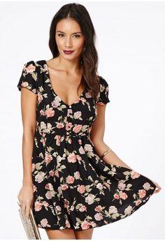 Missguided - Setuna V-Neck Rose Print Skater Dress $46