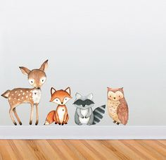 Woodland Themed Cute Creature Wall Decal Collection - Nursery and Children's Room Decor Set - Deer, Owl, Raccoon, Fox