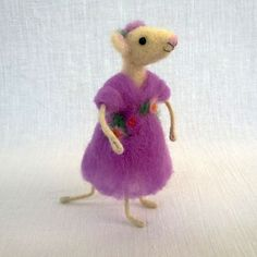 Needle felted mouse purple dress light pink roses by CozyMilArt, $48.00