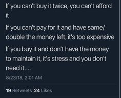 By this logic, I cant afford basic groceries, my school books, or the electric bill. Simple Life Hacks, Useful Life Hacks, Money Tips, Money Saving Tips, Money Hacks, Instagram Hacks, Finance, College Life Hacks, Def Not