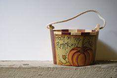 Fall /Halloween Decor Pumpkin Wood Bucket Hand by Ramshackles, $11.95
