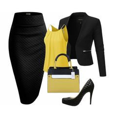 The black suit edit - Business Outfits for Work - Anzug Business Outfits, Business Attire, Business Fashion, Business Chic, Mode Outfits, Office Outfits, Fashion Outfits, Womens Fashion, School Outfits
