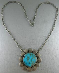 Signed Shatka Bear Step  Villa Grove Turquoise Necklace