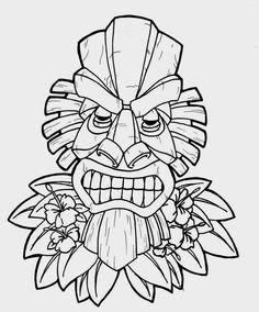 Luau Tiki Clip Art Clipart Panda Free Clipart Images - Clipart Suggest Outline Drawings, Art Drawings, Free Coloring Pages, Coloring Books, Tiki Maske, Tiki Faces, 3d Templates, Tiki Tattoo, Tiki Head