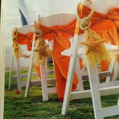 Great way to dress up chairs for a wedding - a nice a nice alternative to flowers for a beach or nautical theme. #beachwedding