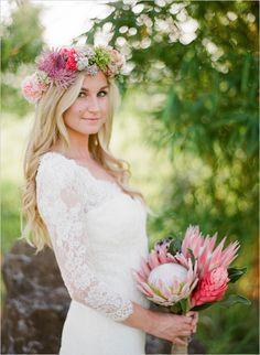 Love this brides boho chic, whimsical style.