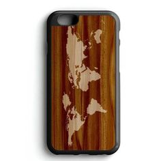 World Map Siluet In Wood iPhone 7 Case