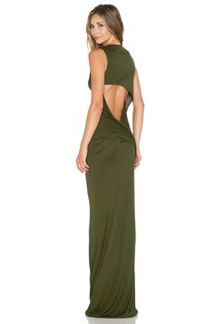 Haute Hippie Open Back Maxi Dress in Fatigue