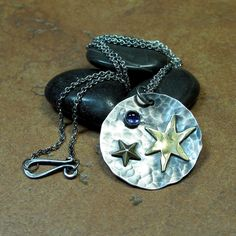 Sterling Silver Pendant with Brass Stars and Iolite - Wish Upon a Star    ...from Lavender Cottage on Etsy
