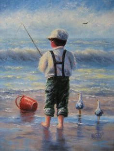 Waves  Boy2 Original Oil Painting  Vickie by VickieWadeFineArt, $65.00