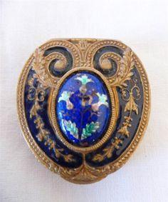 Ornate Antique Gold Cobalt Blue Enamel Powder Mirror Compact Puff Pill Box 1910 | eBay