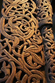 Medieval Wood Carvings, Acanthus, Stave Church Portal, Norway, photo by saamiblog via Flickr....   ................................♥...Nims...♥