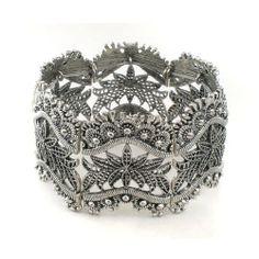 Art Deco Inspired Vintage Filigree Style - Antiqued Silver Colored Stretch Bracelet Silver Insanity, http://www.amazon.com/dp/B007TIKW7C/ref=cm_sw_r_pi_dp_qPn6qb0E9DFSS