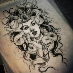 Medusa tattoo by Sam Smith Representation of Medusa. Shows the beauty she was with the creature she became. Medusa Tattoo Design, Mandala Tattoo Design, Tribal Tattoo Designs, Future Tattoos, Love Tattoos, Beautiful Tattoos, Body Art Tattoos, Hip Tattoos, Arabic Tattoos