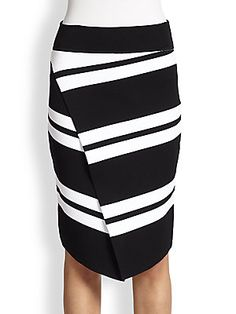 A.L.C. Clift Striped Knit Asymmetrical Wrap-Effect Skirt