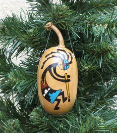 Southwestern Hand-painted Gourd Ornament 176 by AChristmasbyCarol