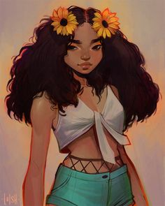 loish: «Another - this time of character! Loved drawing this one! Black Love Art, Black Girl Art, Cute Art Styles, Cartoon Art Styles, Drawings Of Black Girls, Mode Poster, Loish, Digital Art Girl, Magic Art