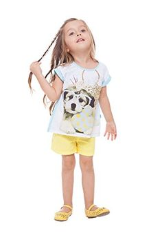 Toddler Girl Short Sleeve Shirt Puppy Graphic Tee Pulla Bulla 1 Years Aquamarine ** Want additional info? Click on the image.