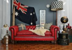 Vintage Post BOX RED Leather Chesterfield Lounge 2 Seater Sofa Retro Industrial   eBay