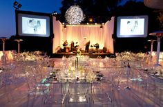 modern glass tables ghost chairs wedding party flowers glass wedding decorations for tables