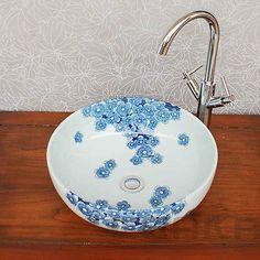 TB038 NEW Hand Made Stylish Ceramic Bowl Shape Art Sink Blue Plum Blossom Basin[Basin + Chrome Bamboo Mixer tap,With Pop