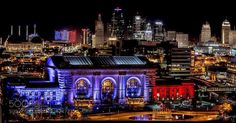 11/14/15 Downtown Kansas City lighted to show respect for France. Union Station #PatrickBorgenMD