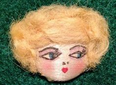 Vintage Flapper Girl Button with Blonde Hair RARE | eBay
