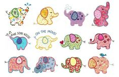 Roly Poly Elephants Applique ~ Designs by Juju Embroidery Store, Paper Embroidery, Machine Embroidery Applique, Beginner Embroidery, Embroidery Machines, Embroidery Jewelry, Embroidery Files, Baby Quilt Patterns, Applique Patterns