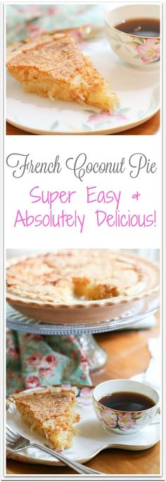 This French Coconut Pie Recipe has a crackly, sugary crust with a wonderfully gooey vanilla and coconut center. It is so sinfully good that it really ought to be illegal.
