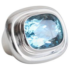 Tiffany Picasso Aquamarine Ring. Bold Tiffany Aquamarine Ring designed by Paloma Picasso. The ring is in massive 18k gold and centres a very bright blue and inclusion-free Aquamarine of circa 17 carats.
