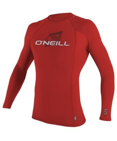 ONeill Wetsuits UV Sun Protection Youth Skins Long Sleeve Crew Sun Shirt Rash Guard Red 12 ** Click on the image for additional details.(This is an Amazon affiliate link and I receive a commission for the sales)