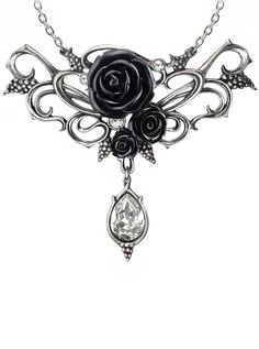 Looking for gorgeous gothic glamour? You can't do any worse than this Alchemy Gothic Bacchanal Rose Pendant Necklace, perfect as a gift. Goth Jewelry, Pendant Jewelry, Jewelery, Jewelry Necklaces, Fashion Jewelry, Pendant Necklace, Gothic Jewellery, Gothic Necklaces, Fashion Clothes