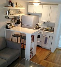 If you are looking for Brilliant Studio Apartment Decorating Ideas, You come to the right place. Here are the Brilliant Studio Apartment Decora. Studio Apartment Kitchen, Studio Apartment Layout, Small Apartment Living, Studio Kitchen, Studio Apartment Organization, Organization Hacks, Studio Apartment Furniture, Small Apartment Layout, Small Apartment Hacks
