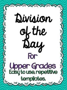 Division of the Day for Upper Grades! 30 day FREEBIE!
