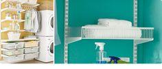 Vegghengte hyller lettar reingjeringa Tips for vaskerommet | Elfa