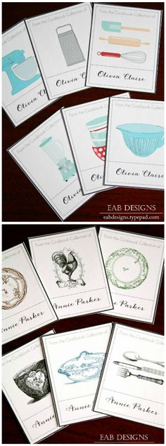 Free printable for bookplates to add to your cookbook collection.