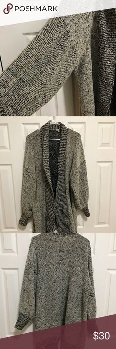Vintage Oversized Cardigan in Black & White Vintage Oversized Cardigan in Black & White. Great with leggings and boots! Excellent condition. Oversized cut fits and can be easily styled for most. Sweaters