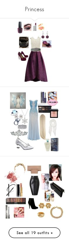 """""""Princess"""" by goddessofbacon ❤ liked on Polyvore featuring Chicwish, OPI, Clinique, Elizabeth Arden, Martick, Pour La Victoire, Sara Gabriel, Paris Hilton, Ice and Adrianna Papell"""
