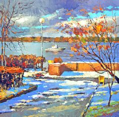 Embarkment OIL PALETTE KNIFE on canvas Painting by by spirosart