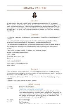 example of housekeeping resume Housekeeper Resume samples - VisualCV resume samples database Free Resume Samples, Resume Template Free, Sample Resume, Resume Format, Resume Cv, Hotel Housekeeping, Executive Protection, Functional Resume