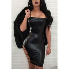 Black Faux Leather Strappy Cutout Sexy Bodycon Club Dress ($33) ❤ liked on Polyvore featuring dresses, party dresses, strappy bodycon dress, sexy bodycon dresses, sexy night out dresses and body con dress