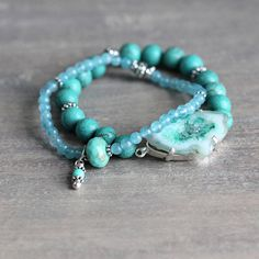turquoise, quartz and druzy bracelet set by artique boutique   notonthehighstreet.com