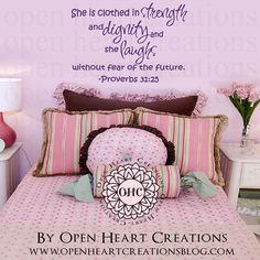 She is Clothed in Strength and Dignity Girl Wall Decal Proverbs 31:25 Scripture Baby Nursery Quote  22H x 36W QT0305 by openheartcreations on Etsy