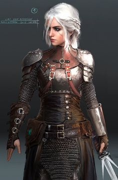 Great drawing of Ciri, cool armor. Love this character. She's more badass than Geralt even before she becomes a witcher. (art by Klaus Wittmann)