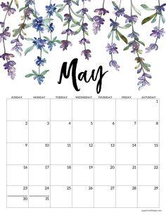 May 2021 calendar page with purple lavendar flowers Cute Calendar, Print Calendar, Printable Calendar Template, Kids Calendar, Calendar Pages, 2021 Calendar, Blank Calendar, Calendar Ideas, Wall Calendars