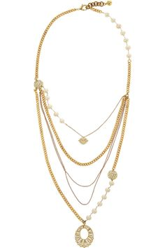 Lulu Frost | Gold-plated, crystal and freshwater pearl necklace | NET-A-PORTER.COM