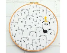 Party Panda Hoop Hand Embroidery Pattern pdf instant download by BustleandSew on Etsy https://www.etsy.com/listing/554164256/party-panda-hoop-hand-embroidery-pattern
